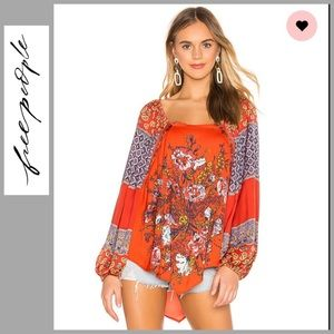 NWT Free People Positano Printed Blouse in Red